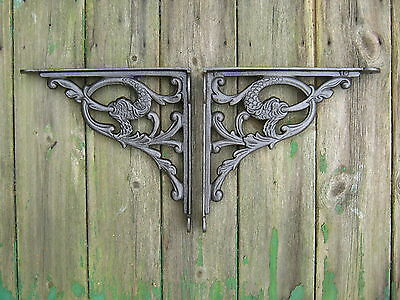 Toilet Cistern Cast Iron Brackets  'The Water Serpent' -Pair Victorian Style