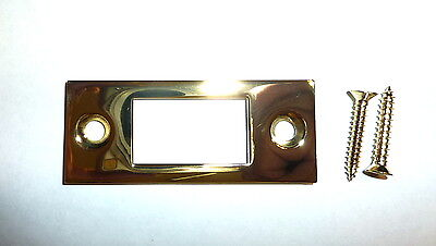 "Decorlux 2.75"" DBS-003 Deadbolt Door Strike Plate Faceplate POLISHED BRASS"