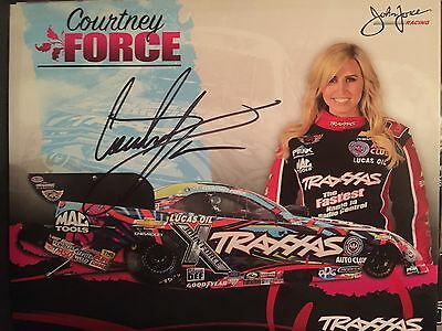 Courtney Force  autographed 2015 Hero Card And   NHRA Signed Proof Pic