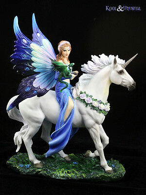 "Anne Stokes Statue: ""Realm of Enchantment"" Fairy with Unicorn and Dragon"