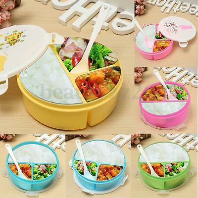 3-Separated Student Plastic Portable Bento Lunch Box Food Container Storage New