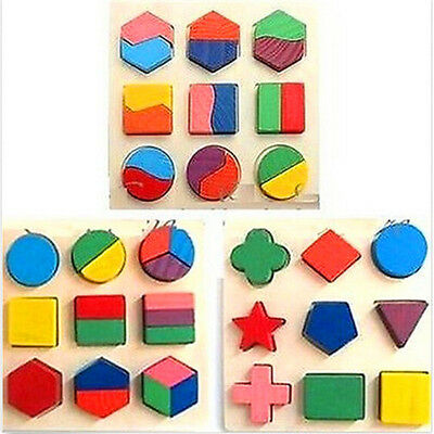 FD1768 Kids Baby Wooden Geometry Block Puzzle Montessori Early Learning Toy x1