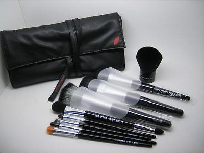 Laura Geller New 9 Piece Professional Brush Roll Set With 9 Quality Brushes