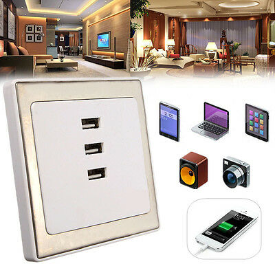 3 USB Port Wall Socket Charger AC 220V Power Supply Outlet Plate Panel For Home