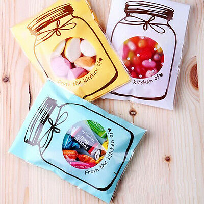 100pcs bottles pattern self-adhesive plastic bags for Handmade biscuits snack JX