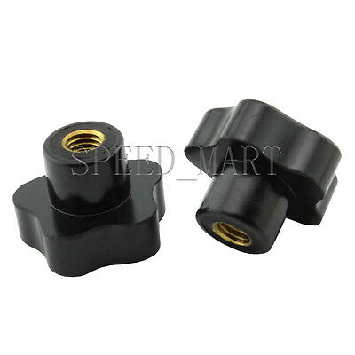 2pcs Black Plastic M10 10mm Female Thread Star Shaped Head Clamping Nuts Knob