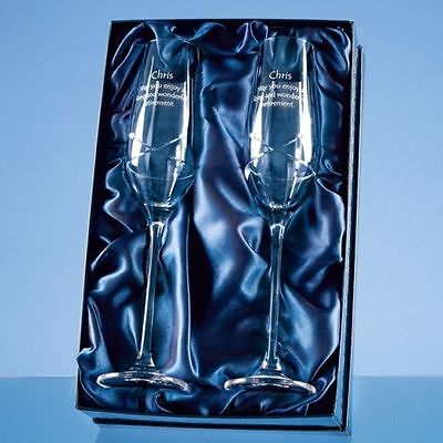 Personalised Engraved 2 Diamante Crystal Kiss Champagne Flutes Bride & Groom