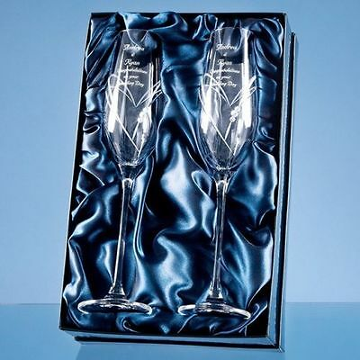 2 Diamante Crystal Heart Champagne Glass Flutes Engraved Wedding Engagement Gift