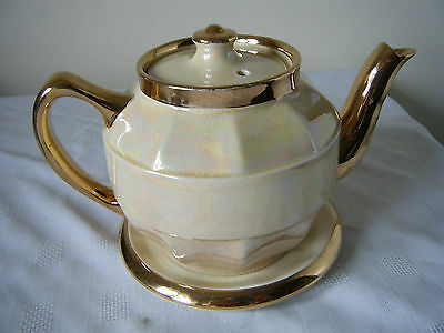 Fabulous Vintage Iridescent Coloured And Gold Teapot And Stand 2 Pints