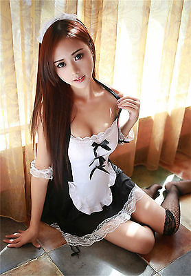 Set Costume Completino Cameriera Maid Serva Sexy Lingerie Cosplay Calze a Rete