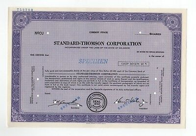 SPECIMEN - Standard-Thomson Corporation Stock Certificate
