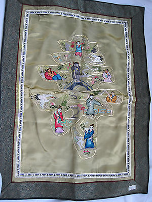 Large Vintage Japan Japanese Hand Embroidered Garden Scene Silk Tapestry
