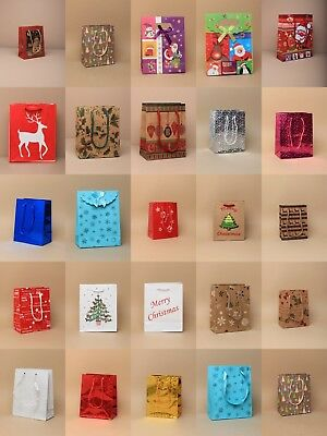 Pack Of Assorted Small Christmas, Xmas Gift Bags :  10, 12, 20, 24, 36 50, 120