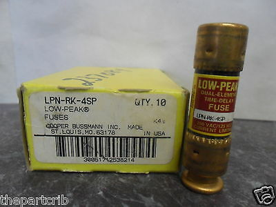 New Lot Bussmann LPN-RK-4SP 4 Amp Fuses Low Peak 250 Volts NIB