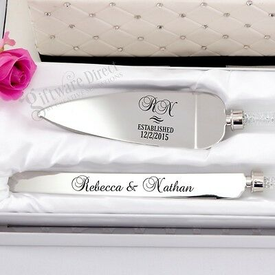 Personalised Engraved Cake Serving Wedding Set Knife Engagement Server Stainless