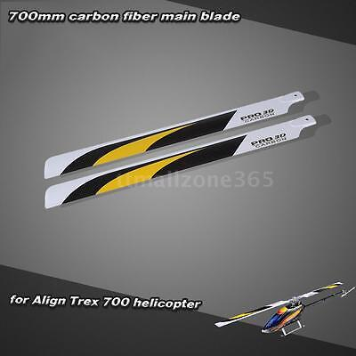 Carbon Fiber 700mm Main Blades for Align Trex 700 RC Helicopter Hot RS57