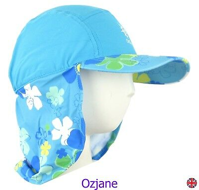 Baby Girls Uv 50 +Ozcoz Sun Swim Hat Sun Protection Legionnaire Aqua 1 To 2 Yrs