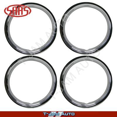 "SAAS Premium Set of 4 Steel 14"" Inch Chrome Wheel Trims NEW"