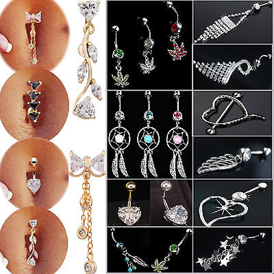 NT Belly Bars Crystal Dangly Reverse Drop Body Piercing Belly Button Ring Navel