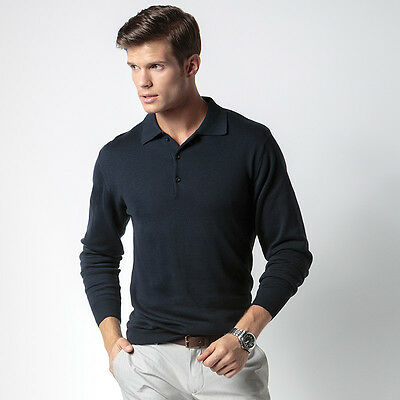 Mens Polo Collar Jumper Long Sleeve Knitted Sweater Casual Golf Top - Kustom Kit