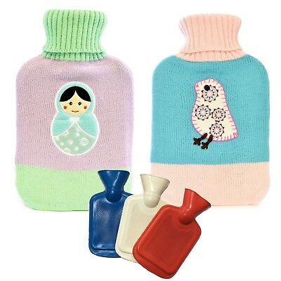 2L Rubber Hot Water Bottles Kitted Cover Bag Tested Large Warm Winter Cosy Soft
