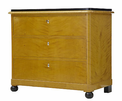 19Th Century Swedish Birch And Ebonised Chest Of Drawers