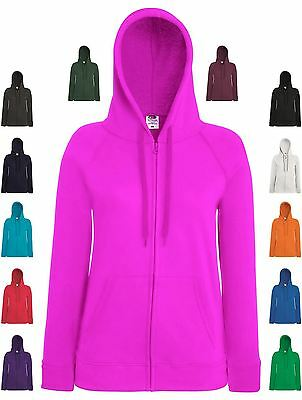 Womens Hoodie Lady Fit Lightweight Zip Up Hooded Sweatshirt Sports Casual Top BN