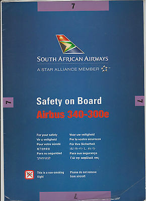 Safetycard SOUTH AFRICAN AIRWAYS  Airbus A340-300e