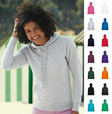 Womens Hoodie Lady Fit Lightweight Hooded Sweatshirt Sports Casual Sweat Top New
