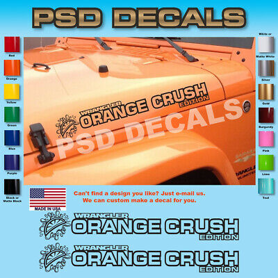 Jeep Decals Jeep WRANGLER Orange Crush Edition Hood Decal Stickers 1 Pair SH-126