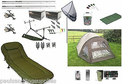 Full Carp Fishing Set Up Kit Rods Reels Alarms Tackle Mat  & Bivvy Bedchair