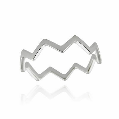 Chevron Zigzag Ring - 925 Sterling Silver - Sizes 3-10 Midi Knuckle Rings NEW
