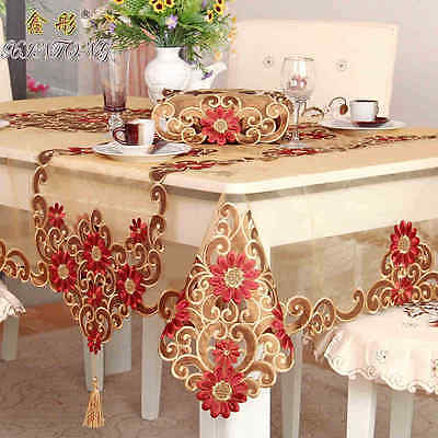 banquet wedding party tablecloth red floral dinning table runner round square