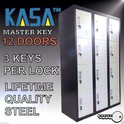 12 DOOR STORAGE LOCKER WHITE / BLACK Office Shed School Home Gym Safe