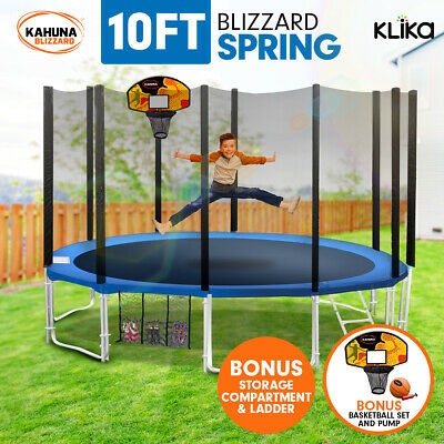 10ft ROUND SPRING TRAMPOLINE FREE SAFETY OUTER NET+PAD+MAT+LADDER+BASKETBALL SET