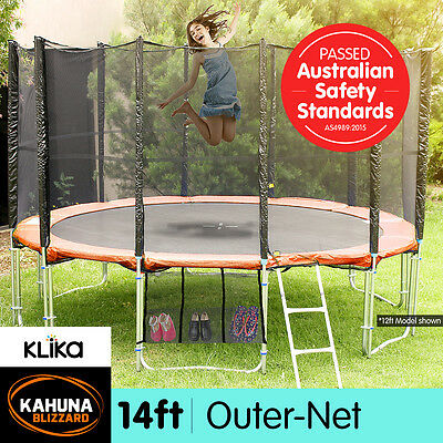 14ft ROUND SPRING TRAMPOLINE FREE SAFETY OUTER NET+PAD+MAT+LADDER+SHOE TIDY