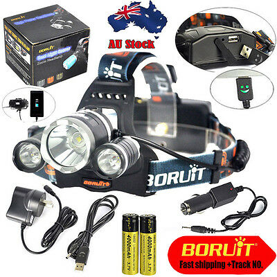 BORUIT 30W 13000LM 3X XM-L2 LED Headlamp Head Light Torch USB Lamp+18650+Charger