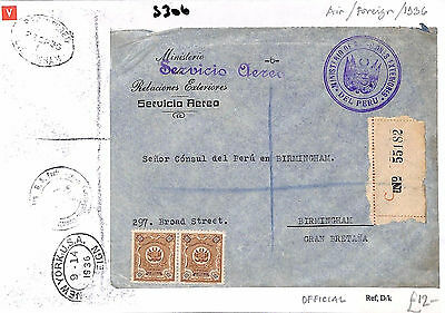 S306 1936 Peru to GB/Air/Foreign/Official