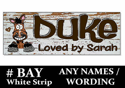 BAY White Strip HORSE PONY cartoon name Sign Plaque Stable door tack room rug