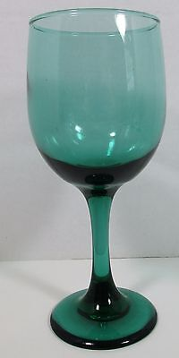 Set of 4 Vintage Libbey Teal Green Wine Water Glass Goblet