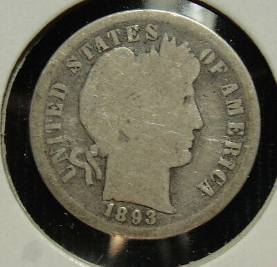 1893-S 10C Barber Dime About Good AG