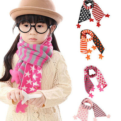 Christmas Gifts Children Winter Warm Gloves Classic Star Soft  Knitted Scarves
