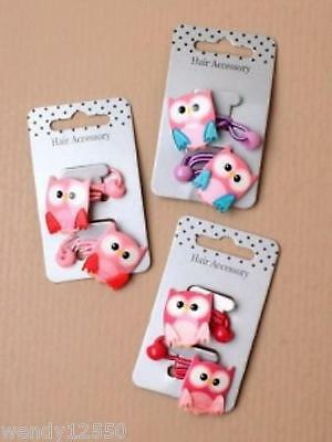 Pack Of 6 Cards Of Bright Acrylic Owl Motif Hair Elastics 2/card : Sp-5781 Pk6