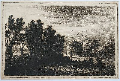 David Charles Read (1790-1851) Etching of a landscape with figures
