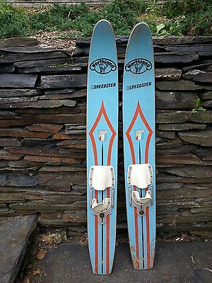 "VINTAGE Set of Wooden 53"" Long Waterskis Water Skis Signed NORTHLAND SPEEDSTER"
