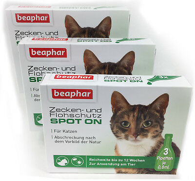 SPOT ON Protection tiques Chats de Beaphar 3 EMBALLAGES = 9 Pipettes á 0, 8ml