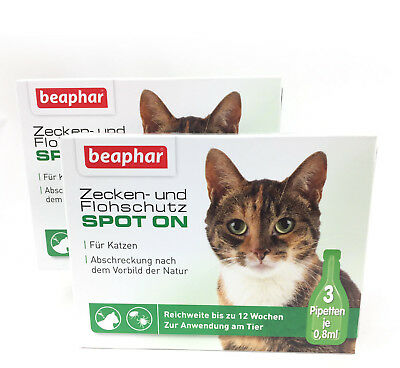 2 x Tick Protection/Flea Protection Spot-On Drop, against Fleas+Ticks for Cats