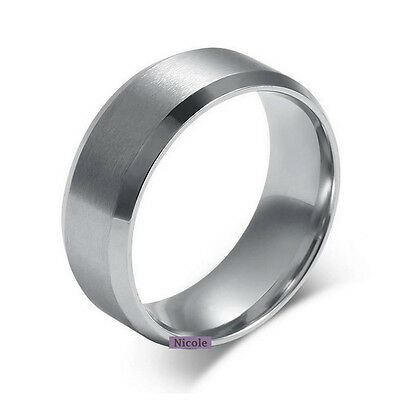 Solid TITANIUM Brushed Center Wedding Band Ring 6mm 8mm Width Size 8-12