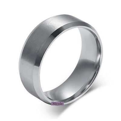 Stainless Steel Brushed Center Wedding Band Ring 6mm 8mm Width Size 8-12