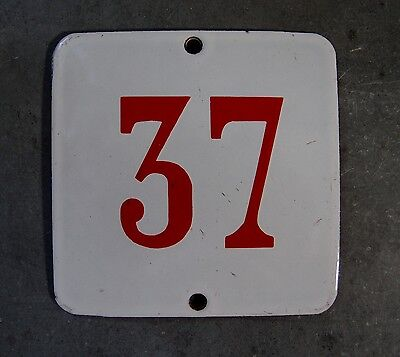 ANTIQUE VINTAGE FRENCH ENAMEL PORCELAIN DOOR HOUSE NUMBER SIGN 3.54 inches N° 37